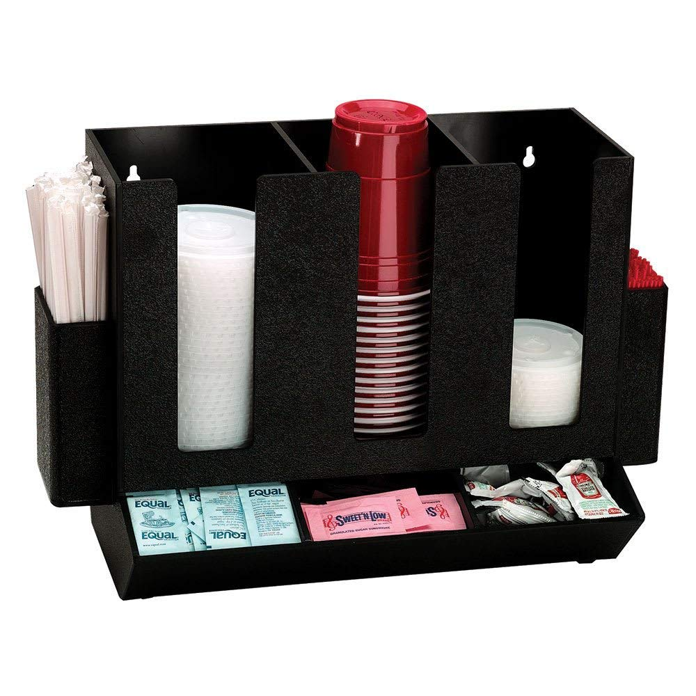 TableTop King HLCO3BT Cup, Lid, Straw and Condiment Organizer, Countertop, Polystyrene, Black