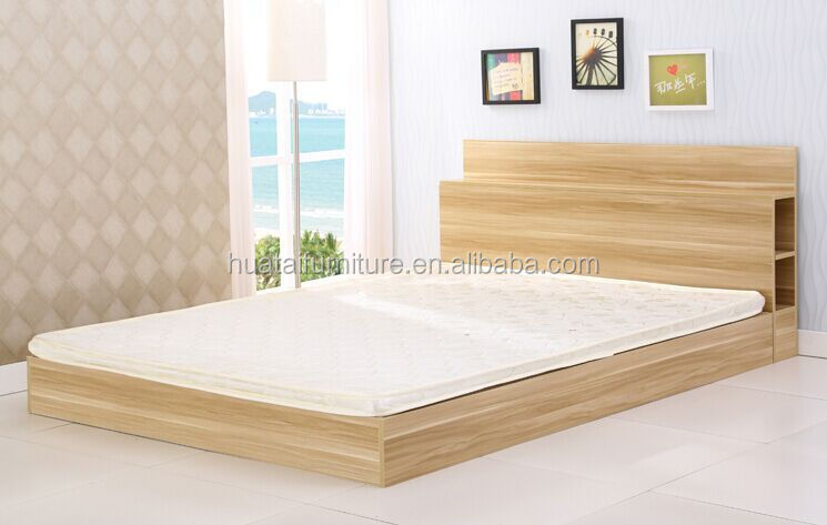 Modern wood Double Bed with storage plywood bed sets