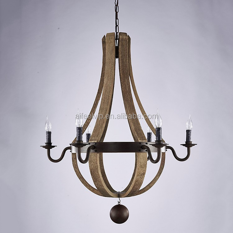 Wholesale new model huge wood parts rustic decoration ceiling light chandelier for living room