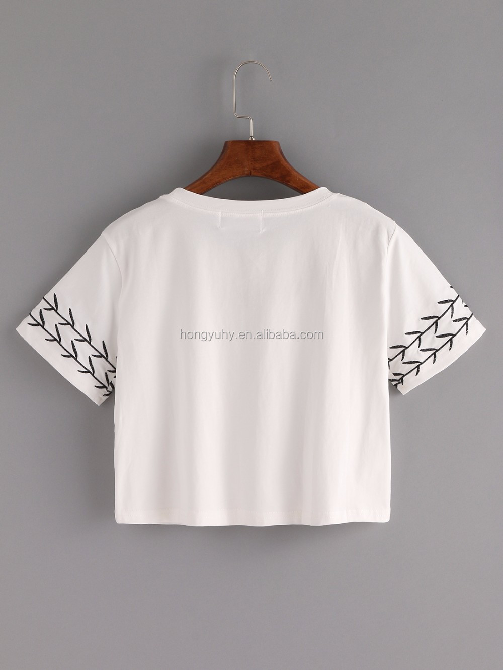 High quality branch embroidered crop t shirt fashion