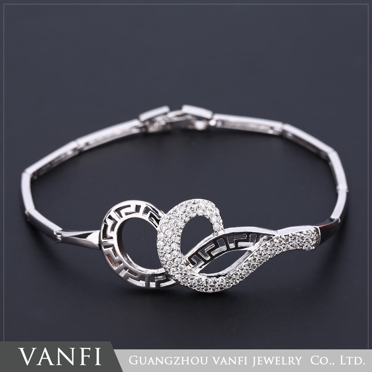 Fashion jewellery artificial diamond white gold ladies bangles latest designs