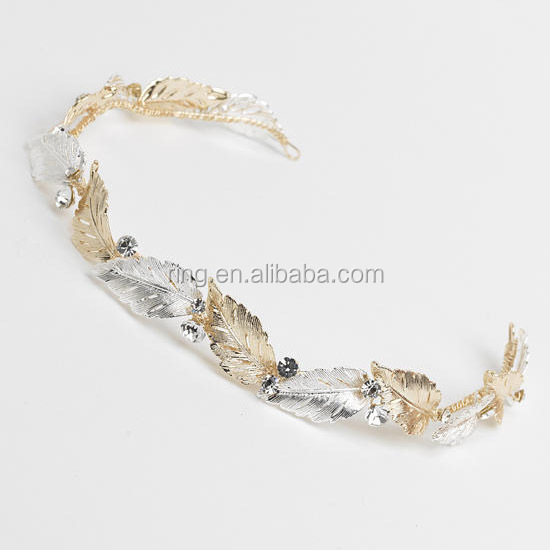Factory Wholesale Artistic Bridal Metal Gold and Silver Leaves Headband