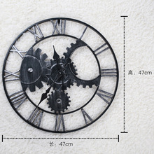 Metal Wall Gear Clocks European Retro Vintage Handmade 3D Decorative Clock