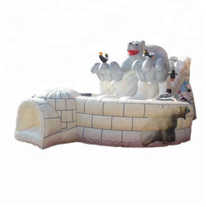 Inflatable PVC White Polar Bear Plunge Double Lane Slide,Polar bear slide,Large polar bear inflatable slide snow theme slide