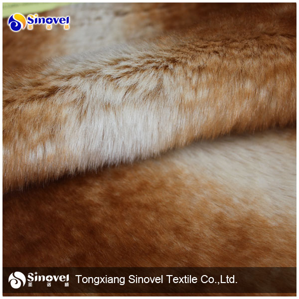 Bronzing 100% polyester long fur material fabric