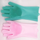 2018 Reusable Magic cleaning sponge silicone dishwashing gloves with wash scrubber