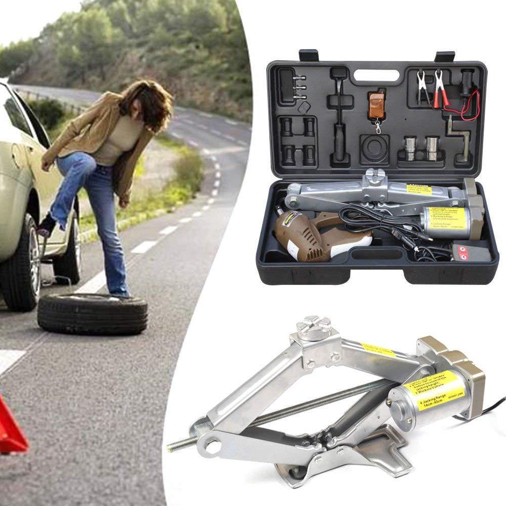 5 Ton 12V Electric Scissor Car Jack Lift Automatic Garage Vehicle Tire Repair