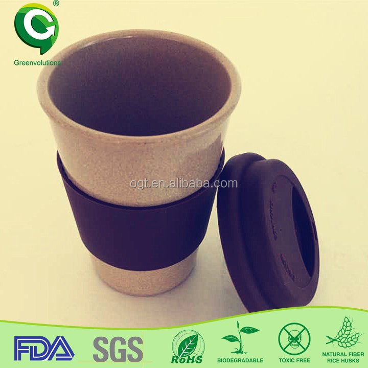 Organic husk fiber biodegradable coffee cup,wholesale vino2go the wine sippy cup