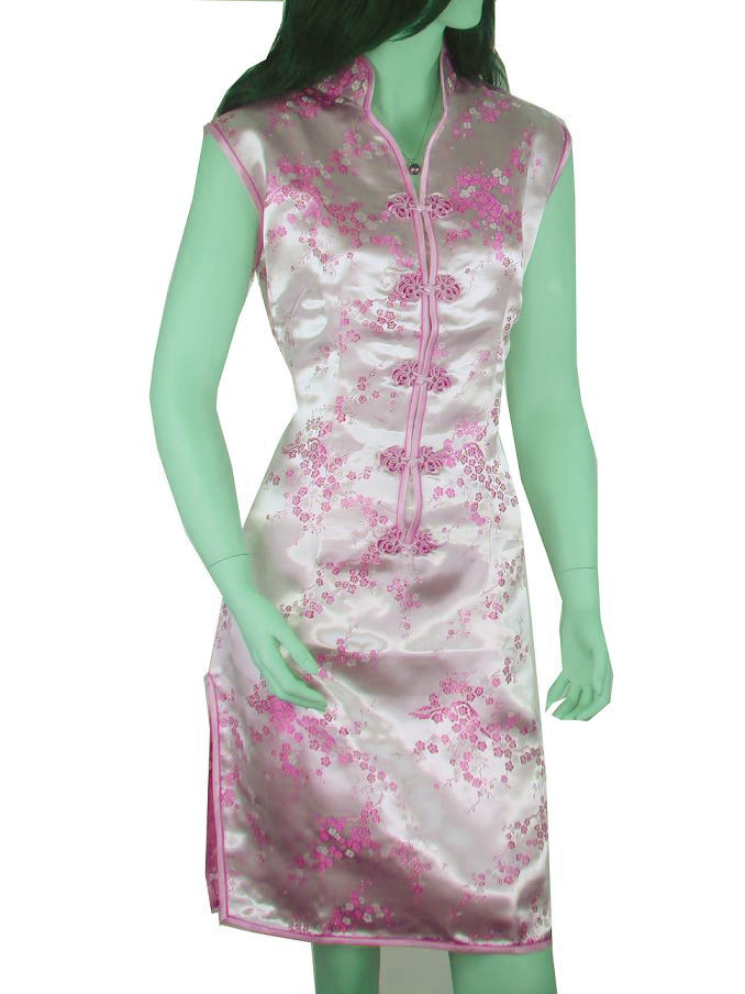 e0a8d489f23 Get Quotations · Free Shipping Pink Female Satin Rayon Cheongsam Vintage  Jacquard Qipao Sexy Mini Wedding Dress Size S M L