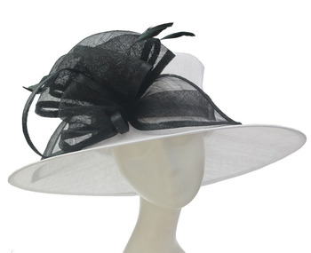 12a4759159c8b Women Wide Brim Sinamay White Plain Wedding Church Top Hats Bowler ...