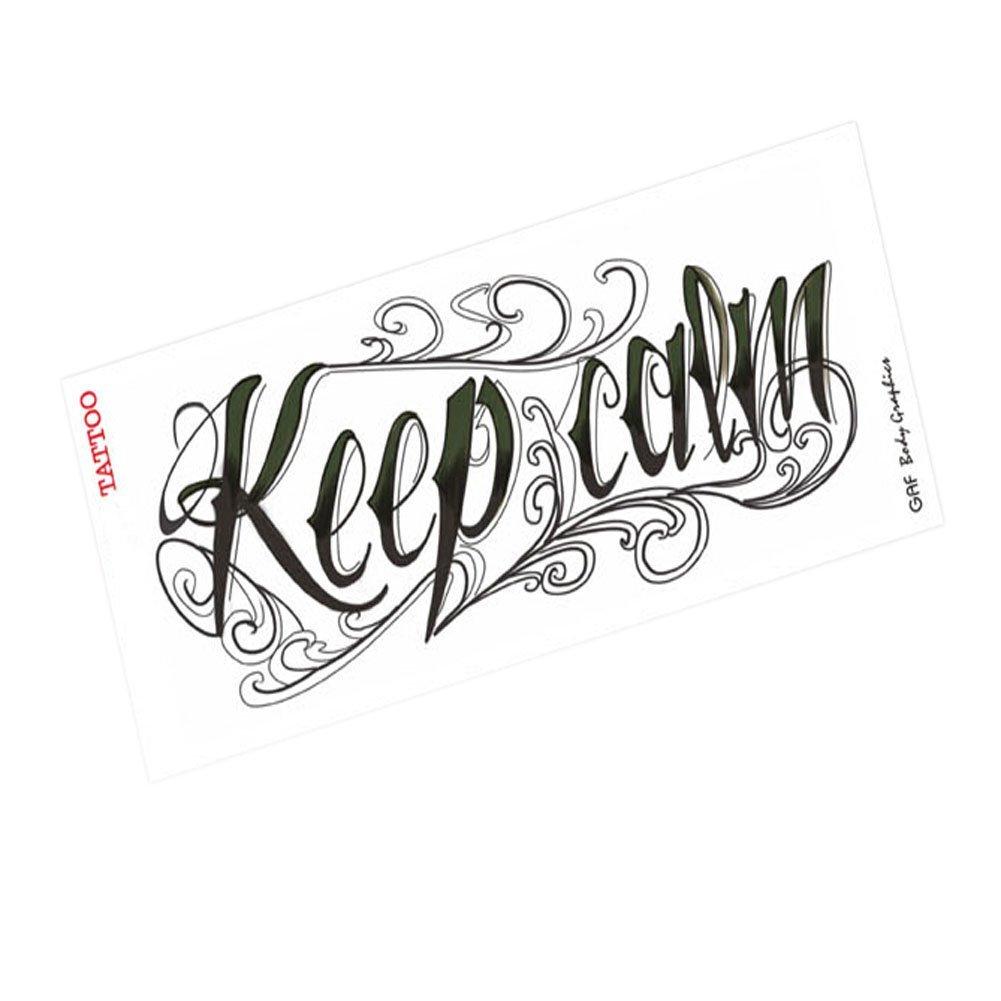 Keep calmcool letters body tattoo sticker waterproof tattoo design6 72 7