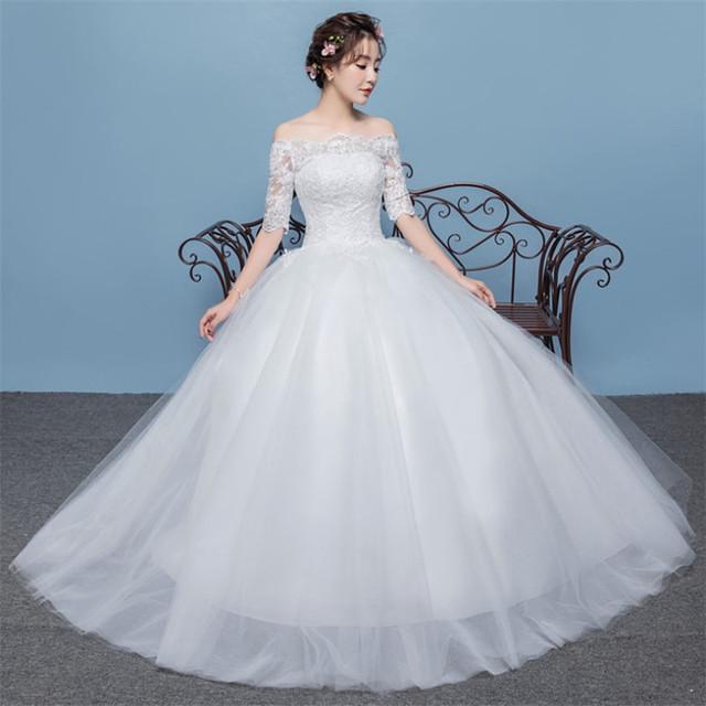 Plus Gowns Buy Size Tulle De Shoulder Novia Bridal Long Half Sleeve Neck Lace 2019 Fancy Wedding Boat Dress Off Vestidos dQrhCsxt
