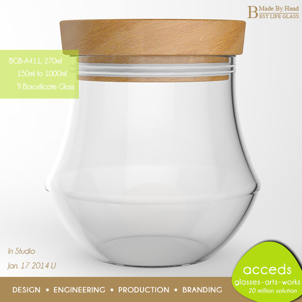 Wholesale Unique Handmade Ovenproof Pyrex Wood Glass Jar With Cork