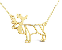 2017 New Design Gold Necklace - Moose Necklace - Moose Origami Inspired Animal Necklace