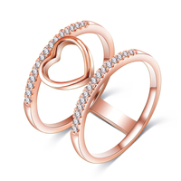 18k Rose Gold Plated Newest Heart Shape Women Rings Brass Pave CZ Stones Girls Forever Love Bling Jewelry Wedding Ring CRI1035
