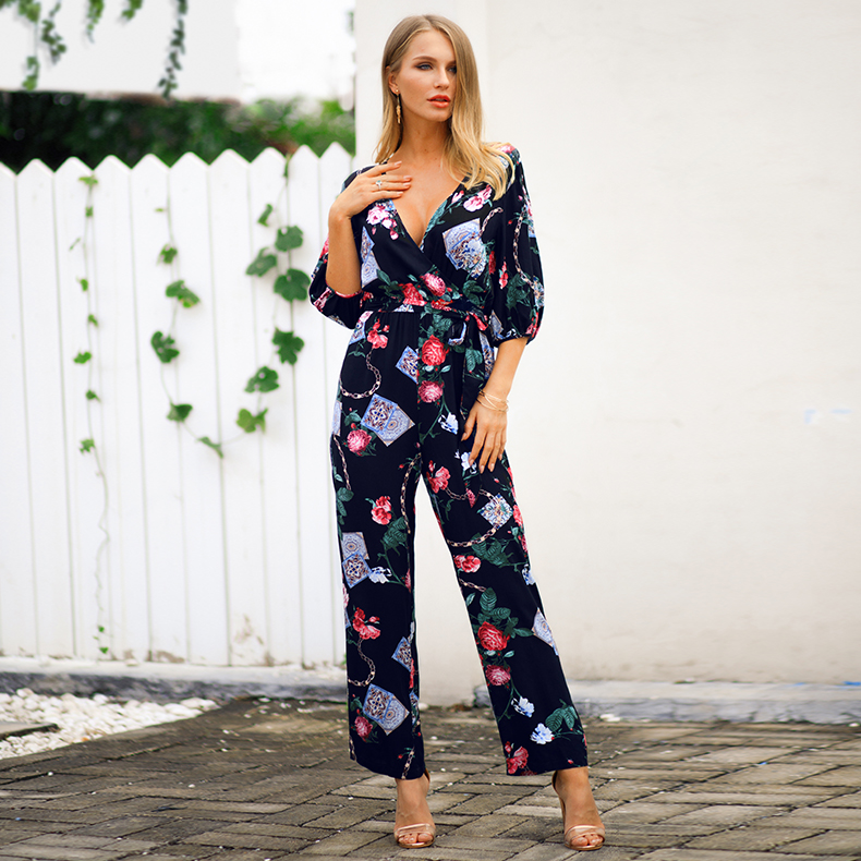 Customized cross V neck waistband one piece jumpsuit fashion long sleeve ladies causal printed jumpsuit