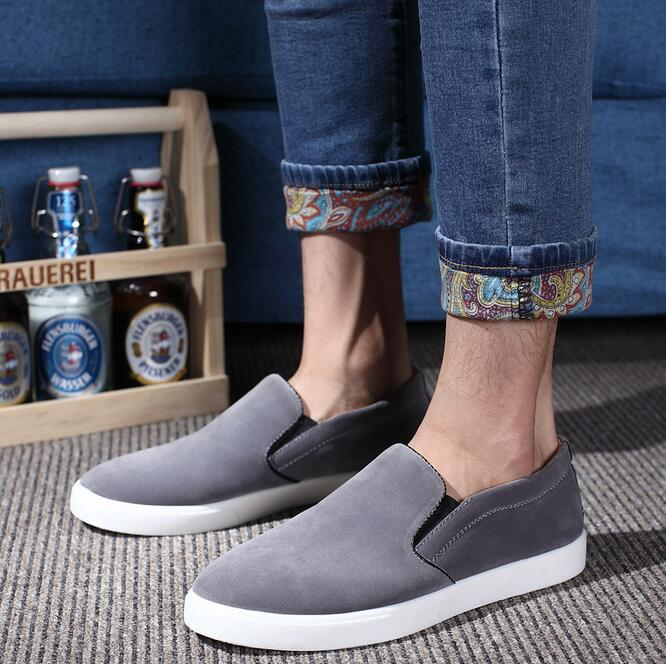 2017 spring suede loafers shoes slip on men casual canvas shoes