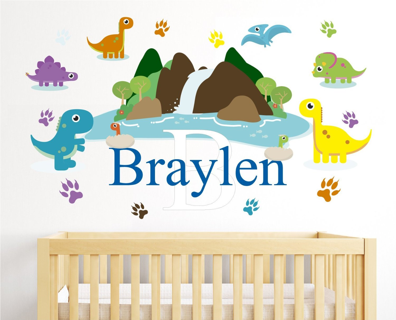 "Custom Name Dinosaur Theme - Jurassic Animals- Personalized Boy Girl Mural - Baby's Mural Room Vinyl Sticker Wall Decal (Wide 40"" x 25"" Height)"
