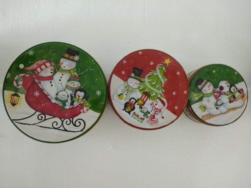 3PCS/set Metal christmas Snowman pircuture storage box, christmas tree household debris box,chiristmast eve present packing box