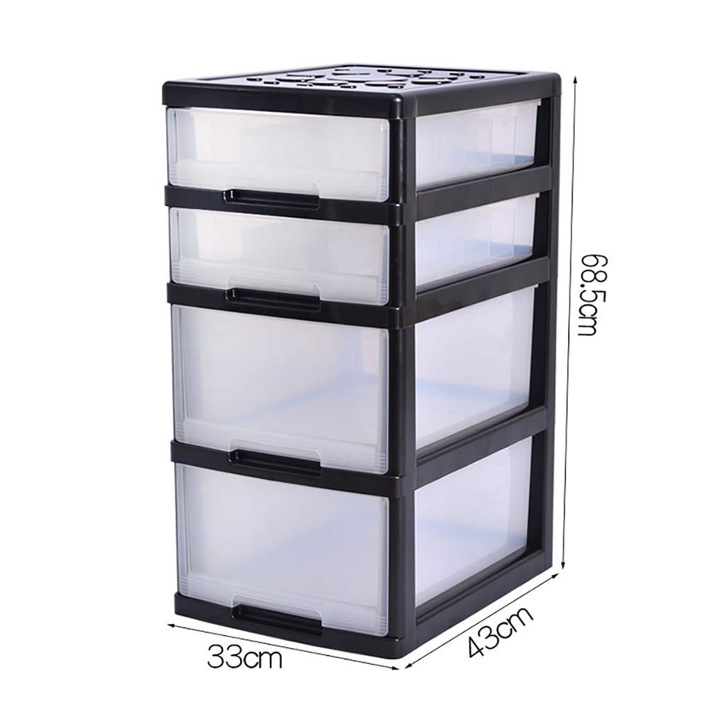 WJ Drawers Drawer Storage Trolley, Monochrome Mobile Storage Trolley Home,Office & Salon (Color : Black)