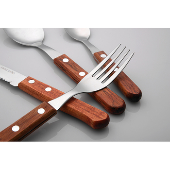 Fashion Stainless Steel Wooden Handle Flatware Sets