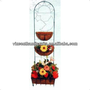 Garden hanging three tiers original wire rack with coco liner flower pot