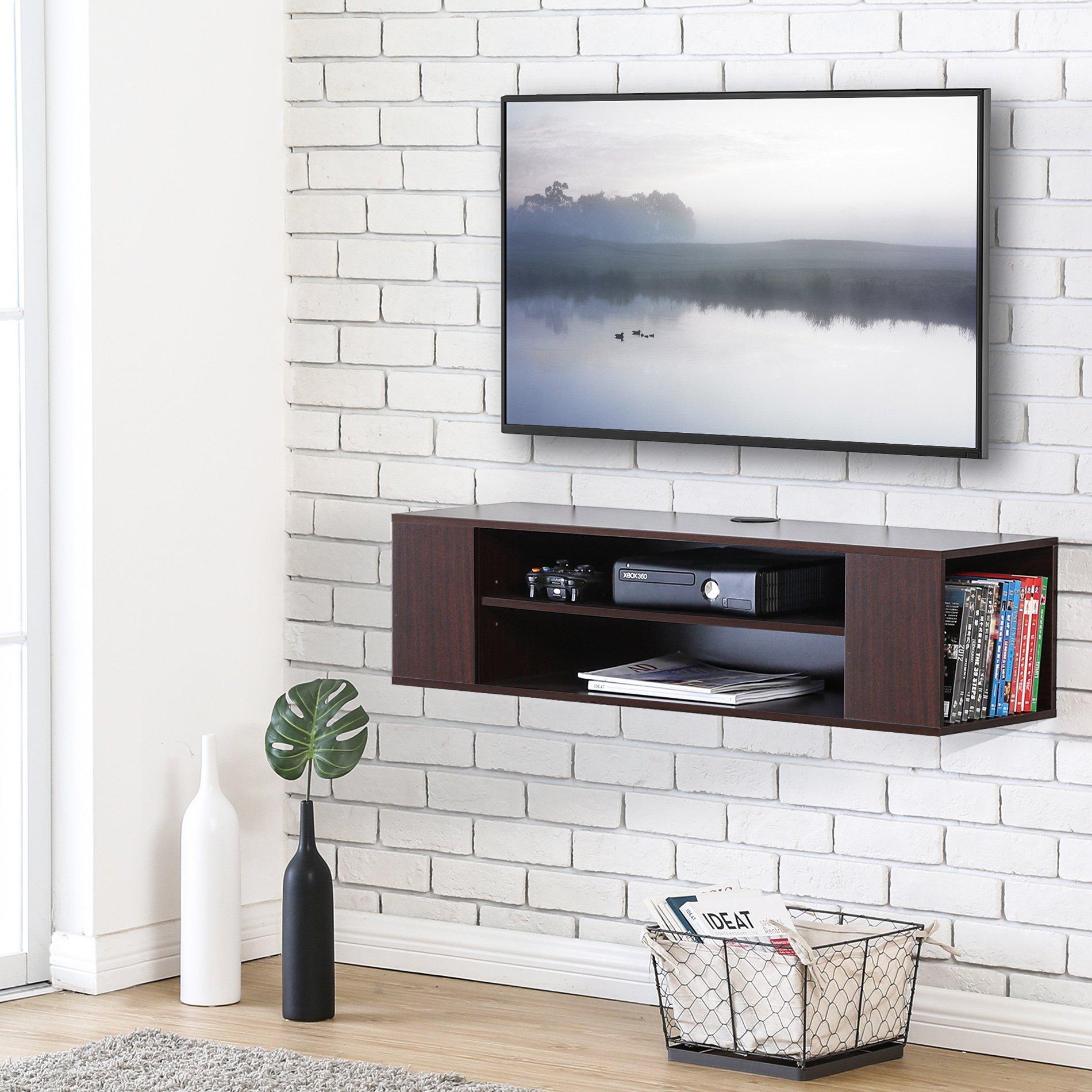 Fitueyes DS210001WB-G Wall Mounted Media Console Shelf, Walnut