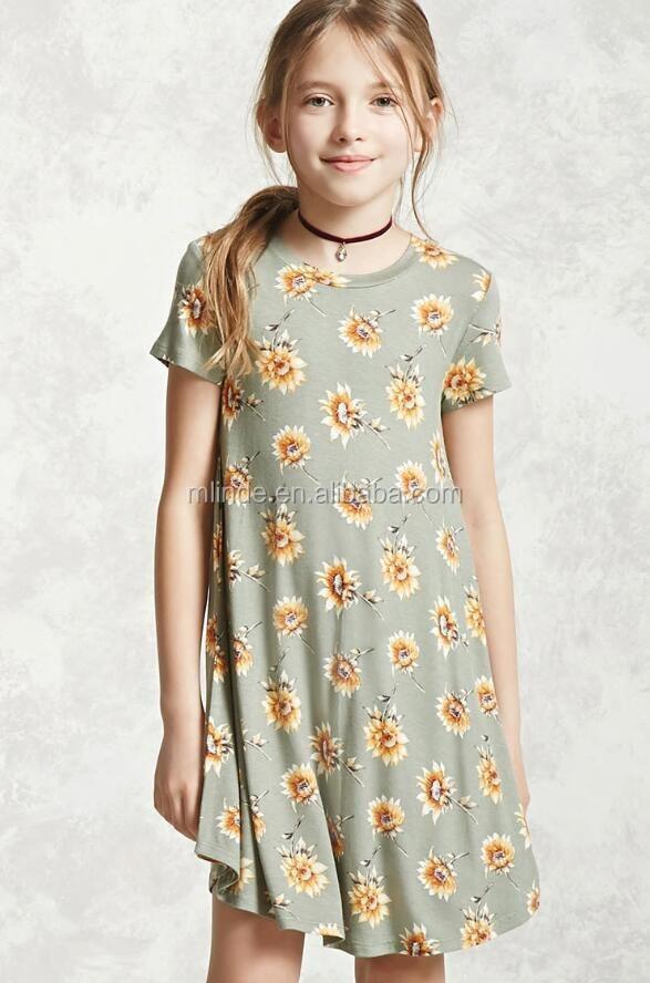 dac752615539 13 лет платье для девочек оптом купить дешевые дети весна с цветочным  принтом с v-
