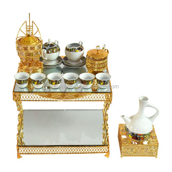 2019 popular arabic metal table set with porcelain tea cup and coffee pot