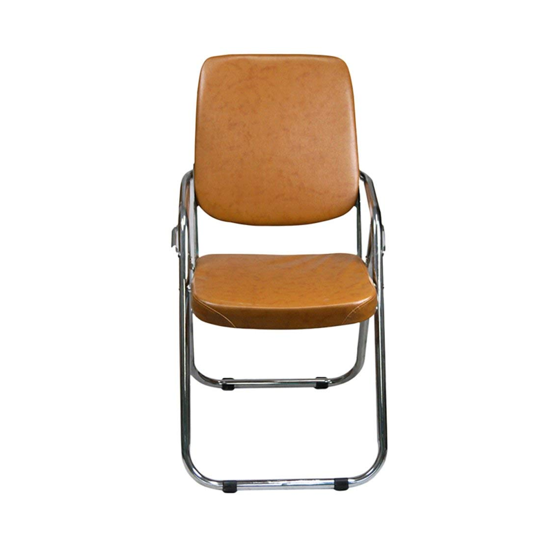 GFL Chairs Folding Chair Steel Material Office Training Conference Chair Backrest Household Dining Book Room Leather Sponge-filled Chair Brown (A+++)