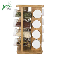 16 Piece Bamboo Spice Rack for Kitchen