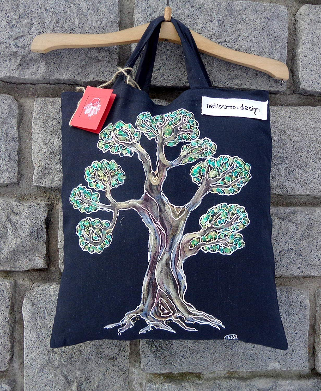 Sale!!!15% Off,Hand Painted Bonsai Tree Tote Bag,Shopping Bag,Japanese Bonsai Canvas Tote,Japanese Tote,Bonsai Artwork,Gift for Her,Cotton tote bag,Birthday gift Bag,Gift Bag