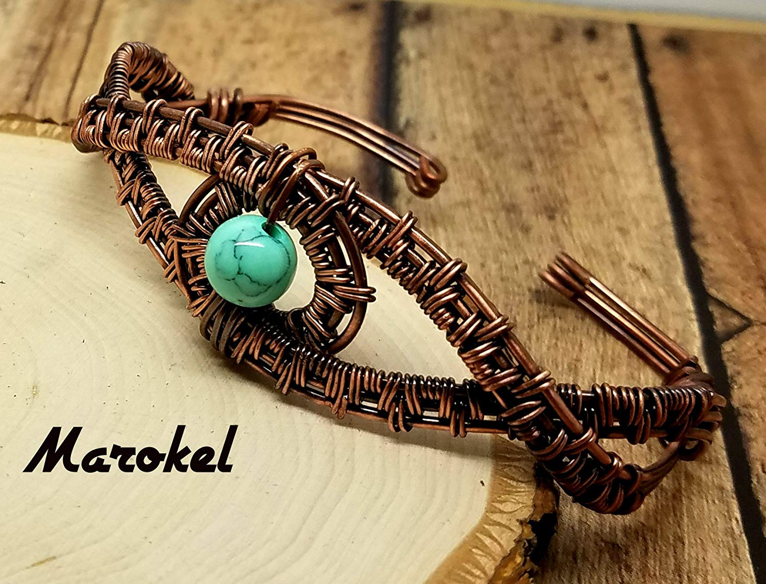 Turquoise Cuff Copper Wire Weave Oxidized Metal