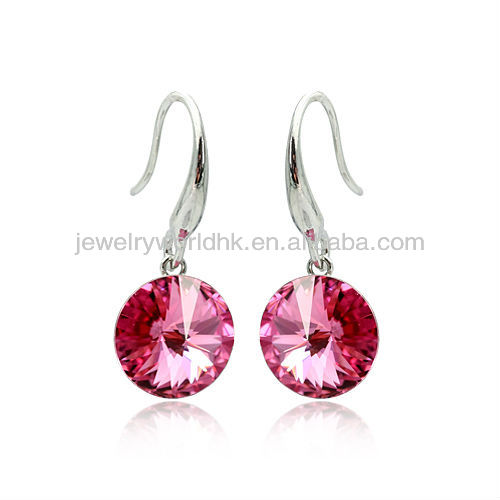 Latest fashion earrings, latest fashion earrings dark pink crystal 18k white gold plated satellite stone drop dangle earrings je