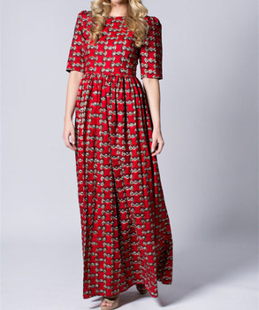 6682110dc Red Long Wax print Batik Sleeved African print Floral African Cotton Summer  dress