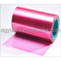 Wholesale pink PET anti-static protective film/red transparent pet protective film roll