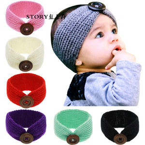 2018 FASHION baby girl toddler cotton wool knitted button decoration winter warm CROCHET headband