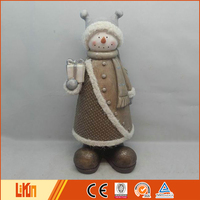 Hot selling home decoration fiberglass standing indoor snowman decoration with a scarf