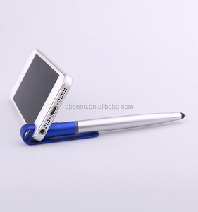 New premium stylus logo ball pen phone stand pen with highlighter
