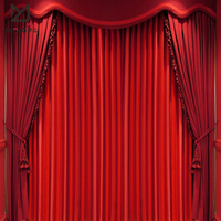 Black / red stage background curtains velvet stage curtains for sale