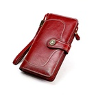 High Quality Genuine Leather RFID Wallet For Women Oil Wax Luxury Female Purse Ladies Long Clutch Vintage Wallet