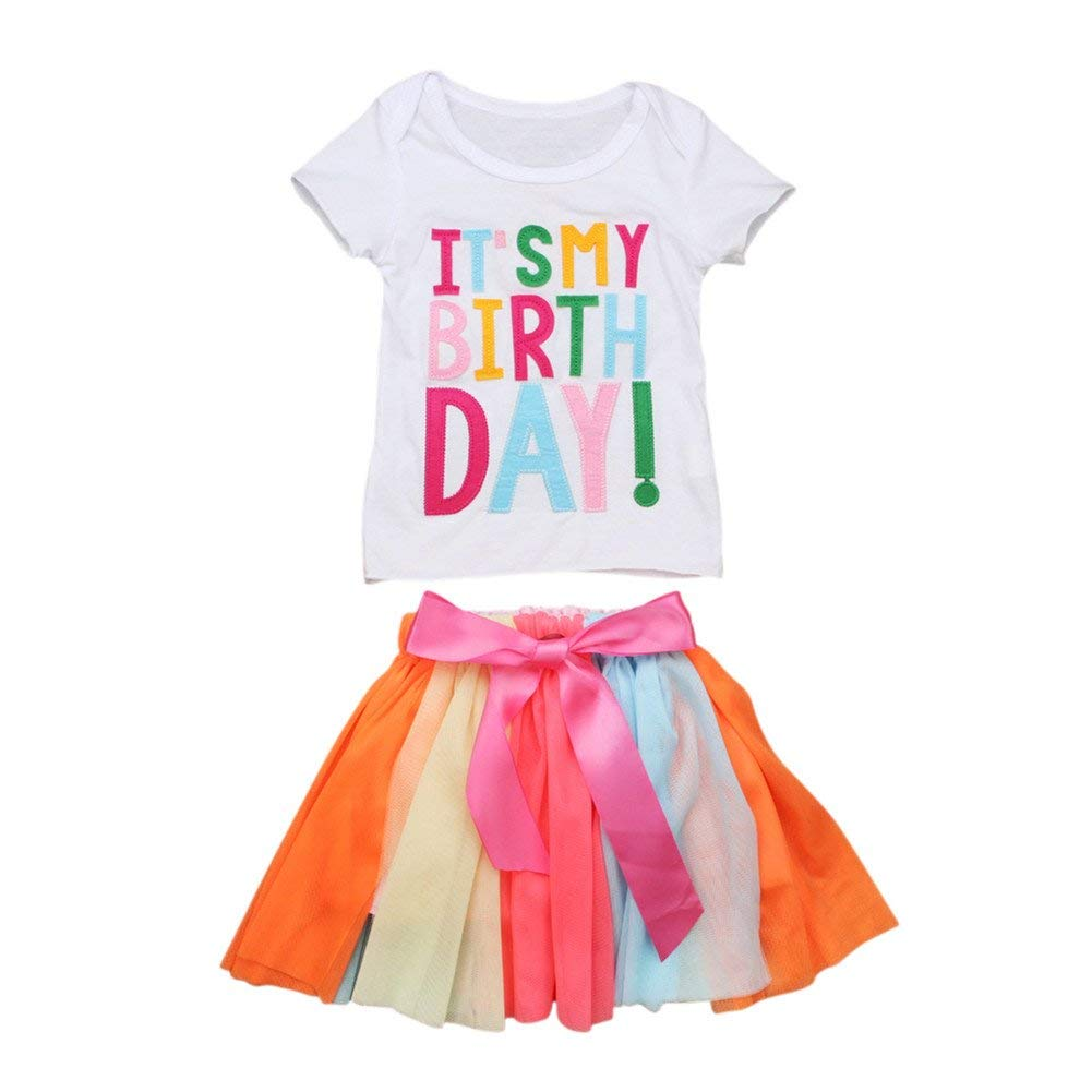 1fefa9ff615 Get Quotations · Spring Summer Baby Kids Girls Casual Outfits Cute It s My  Birthday 2 Pieces Clothing Set