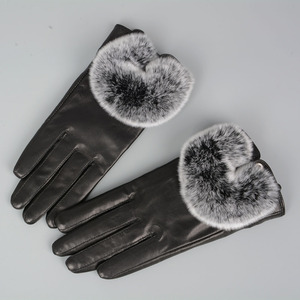 Great Quality Genuine Sheepskin Leather Gloves With Rabbit Fur Women's Winter Fashion Style Mittens