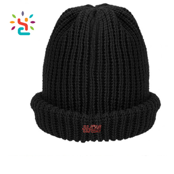 cb055484429 Wholesale winter cuff beanie cap custom different types black plain beanie  straight needle knitted hat patterns