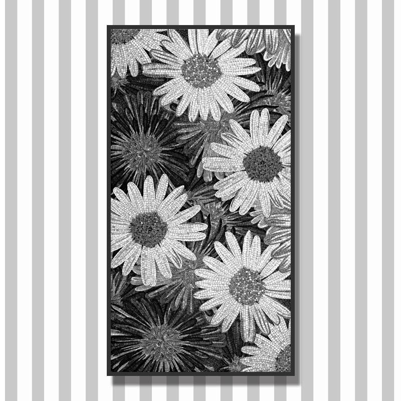 Girasol Ramo Artístico Mural En Blanco Y Negro De Flores Patrón De