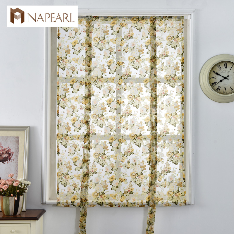 Napearl Rideaux Romains Cafe Style Court Doorcurtains Tulle Tissu