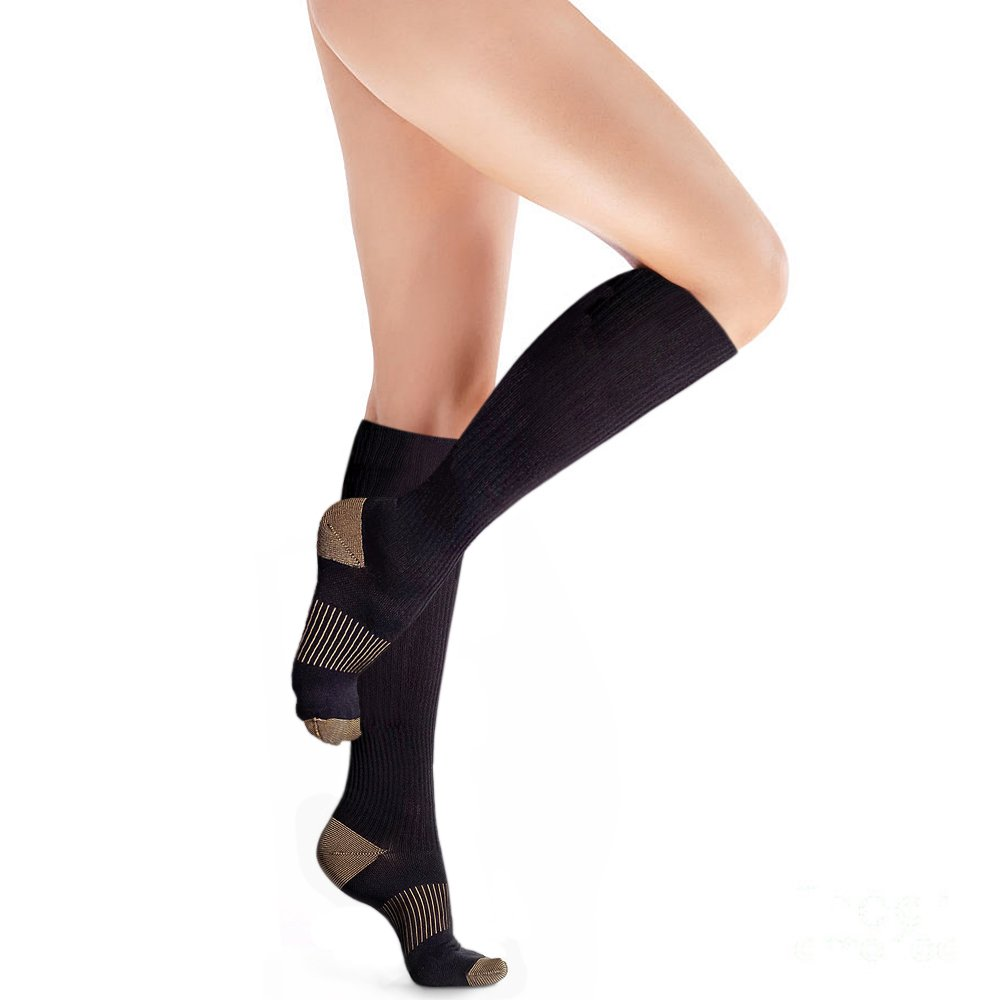 9410a832f4 Get Quotations · Copper Compression Knee High Recovery Support Socks,  GUARANTEED Highest Copper Content! Best Copper Infused