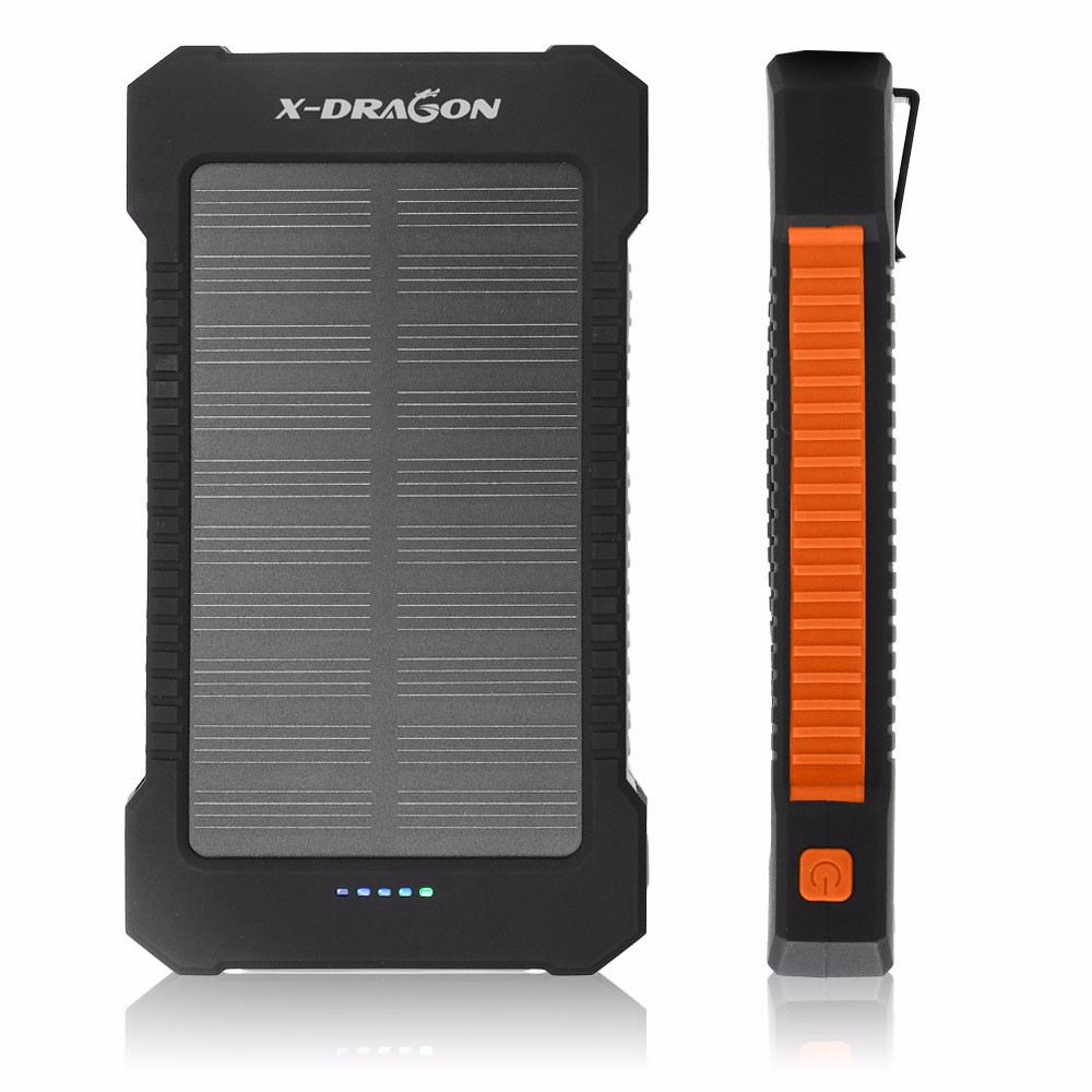 X Dragon Solar Charger Mobile Power Bank 10000mah Backup Battery Externa Portable Powerbank