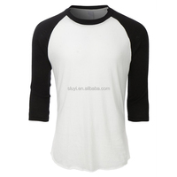 wholesale baseball tee white with black sleeve soft triblend mens plain 3/4 raglan sleeves baseball jersey blank t shirt