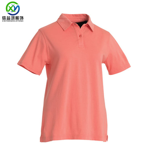 Pink Polyester Spandex Solid Cotton Pique Fabric Dry Fit Golf Polo Shirt For Women UPF 50+ Dry Fit Golfer Pony Shirt